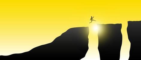 en man som hoppar genom springan i bergsvektorillustrationen vektor