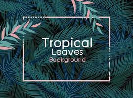 tropische Blätter mit rosa Linienrahmen auf schwarzer Hintergrundvektorillustration vektor