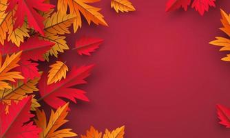 Herbstblätter auf rotem Hintergrundentwurf mit Kopienraumvektorillustration