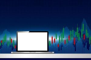 Laptop-Computer mit Börsenhintergrundvektorillustration