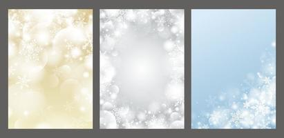 julbakgrundsdesign av snöflinga och bokeh med ljuseffektvektorillustration vektor