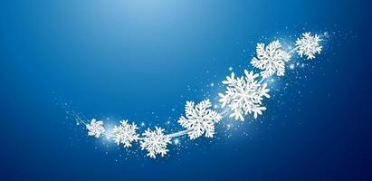 Weihnachts- und Winterdesign von Schneeflocke und Schnee mit Lichtern auf blauem Hintergrundvektorillustration