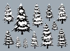Kiefern mit Schnee in der Wintervektorillustration