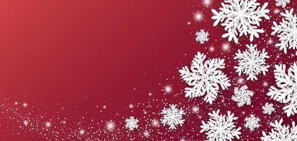Weihnachts- und Winterfahnenentwurf von Schneeflocke und Schnee mit Lichtern auf roter Hintergrundvektorillustration