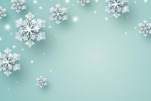 Weihnachtshintergrundentwurf der Schneeflocke und des Schneefalls, die im Winter mit Kopienraumvektorillustration fallen vektor