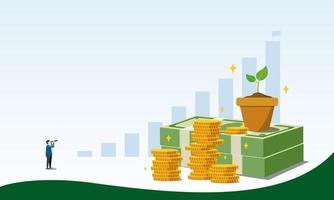 spara pengar till vektorillustration för investeringskonceptdesign