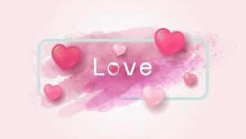 Liebeskonzept und Valentinstagdesign von Herzen und Aquarellpinsel-Vektorillustration