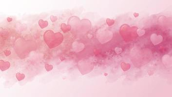 Liebeskonzept und Valentinstaghintergrunddesign von Herzen und Aquarellpinsel-Vektorillustration