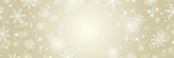 Weihnachts- und Winterhintergrundkonzeptentwurf der weißen Schneeflocke und des Schnees mit Kopienraumvektorillustration