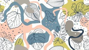 nahtloses Blumenmuster mit Blättern und abstrakten organischen Flecken über weißem Hintergrund