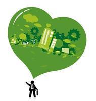 Denken Sie grünes und ökologisches Konzeptdesign auf weißem Hintergrund