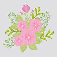 rosa Blüten mit Zweigen und Blättern für die Naturdekoration
