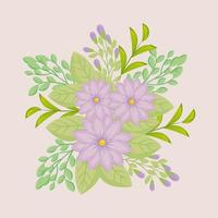 lila blommor med grenar och blad för naturdekoration vektor