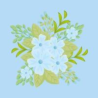 blaue Blüten mit Zweigen und Blättern für die Naturdekoration