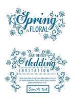 bröllopsinbjudan och vårblommakort med blommor och bladdekoration vektor