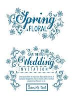 Hochzeitseinladung und Frühlingsblumenkarte mit Blumen- und Blattdekoration vektor