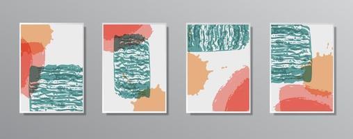 Satz kreative minimalistische handgezeichnete Vintage neutrale Farbabbildungen