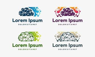 uppsättning moderna pixel moln ikon design