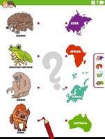 matcha djurarter och kontinenter utbildningsuppgift vektor