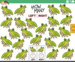 räkna vänster och höger bilder av tecknad trädgroda djur vektor