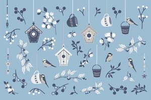 samling av fåglar och grenar. vektor
