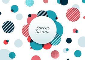 abstrakt blå och röda cirklar slumpmässigt mönster på vit bakgrund. modern geometrisk med etikett.