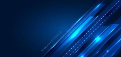 abstrakt teknik digitalt futuristiskt koncept. diagonala ränder med glödande ljusstrålar, hastighetsrörelse på mörkblå bakgrund. vektor