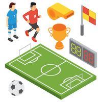 Isometrische Fußball-Vektor-Set
