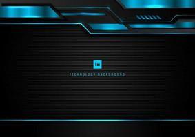 abstrakt modern teknik koncept. geometriskt svart och blått glödande ljus. metallramdesign på mörk bakgrund. vektor