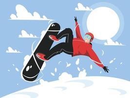 Snowboarder-Springen mit Stilcharakterillustration vektor