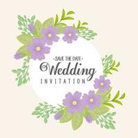 Grußkarte mit Blumenkranz für Hochzeitseinladung vektor