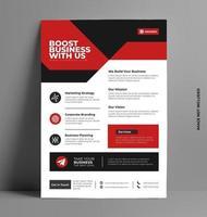 elegant röd företags flygblad mall. vektor