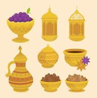 Eid al Adha Feier Icon Set vektor