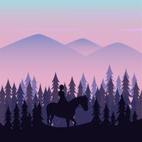 Wanderer, die Pferde in den Bergen verwenden vektor
