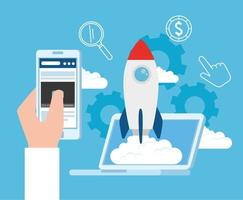 Business Startup Konzept Banner mit Raketenstart