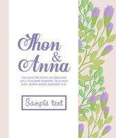 blommig gratulationskort med blommor för bröllopsinbjudan vektor