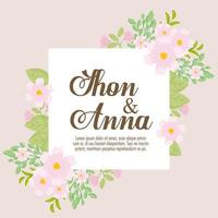 Blumengrußkarte mit Blumen für Hochzeitseinladung vektor