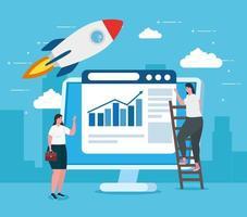 Startup Business Concept Banner mit Geschäftsfrau mit Computer
