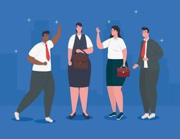 glückliche interracial Geschäftsleute, die Avatar Charakter stehen vektor
