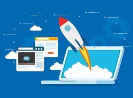 Startup Business Concept Banner mit Raketenstart