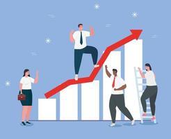 Startup Business Concept Banner mit interracial Geschäftsleuten und Infografik vektor