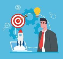 Startup Business Concept Banner mit Geschäftsmann