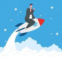 Startup Business Concept Banner mit Geschäftsmann auf einer Rakete