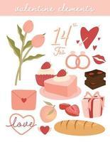 niedliche Valentinstagselemente setzen Vektor