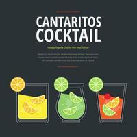 Cantaritos Cocktail Reklam Grafisk Illustration Mall vektor
