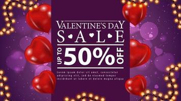Valentinstag Verkauf, lila Web-Banner mit Girlandenrahmen, Luftballons Form der Herzen und großes weißes Angebot. vektor