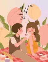 glückliche Valentinstagkarte mit niedlichem Paar auf Picknick während romantischer Datumsvektorillustration vektor