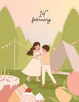 glückliche Valentinstagkarte mit romantischem Paar, das zusammen Vektorillustration tanzt vektor