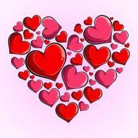 hjärta består av små rosa och röda hjärtan, hjärta som består av hjärtan alla hjärtans dag kärlek vektor