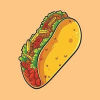 söt illustration av en härlig taco, i hög kvalitet vektor